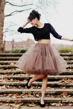 Currently Craving: Ballerina Skirts: Black Top, Tutu Skirts, Safe, Tulle Skirts, Crop Tops, Lace Top, Dress, Croptop