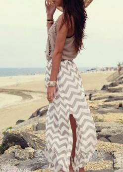 fashforfashion -♛ STYLE INSPIRATIONS♛: bohoaztec: Summer Outfit, Maxi Outfit, Beach Style, Dream Closet, Summer Style, Style Inspiration, Beach Outfits, Chevron Maxi Skirts, Chevron Skirt