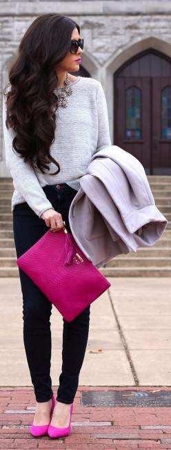 Fashionista: Black Jean Grey Sweater: Statement Necklace, Dream Closet, Hot Pink, Fall Outfit, Pink Shoes, Pink Accent, Fall Winter, Hair, My Style