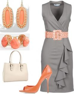 Grey and coral. Sweet and sophisticated. Can't wait for summer. ..: Women S, Gray Dress, Outfit Idea, Color Combos, The Dress, Workoutfit, Work Outfits, Color Combination