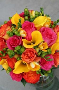 I like this one because it has many bright colors and is very spring themed.: Colorful Flowers, Bright Flower Arrangement, Centerpiece Flowers, Flowers Color, Vibrant Bouquet, Bright Bouquet, Beautiful Flowers, Bouquet Flowers, Bright Flowers