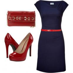 I would do a lower red heel.  The rest of the outfit is perfect for church and brunch afterwards.: Navy Red, Red Belt, Work Outfits, Red Accent, Blue And Red Outfit, Navy And Red Outfit