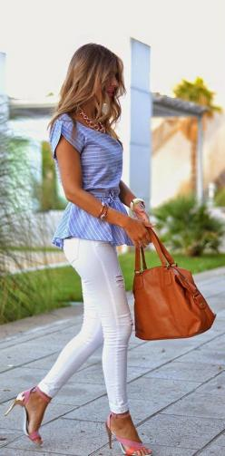 Light Blue Striped Short Sleeve Round Neck Shirt | You can find this at => http://feedproxy.google.com/~r/amazingoutfits/~3/mPcczuXFVHY/photo.php: Summer Outfit, Peplum Tops, Dream Closet, Spring Summer, Jeans Outfit, White Jeans, Spring Outfit, Peplum