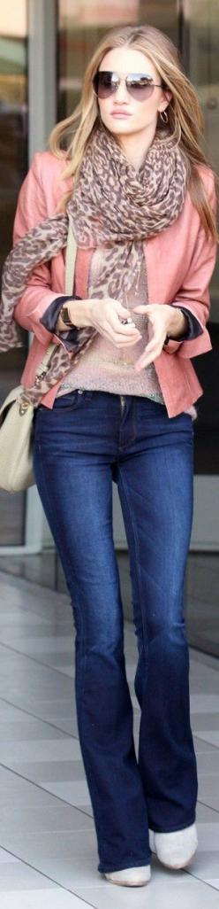Light Pink Coat With Stylish Blue Jeans And Cute Scarf: Huntington Whiteley, Casual Outfit, Pink Jacket, Leopard Scarf, Street Style, Rosie Huntington, Fall Outfit, Fall Winter