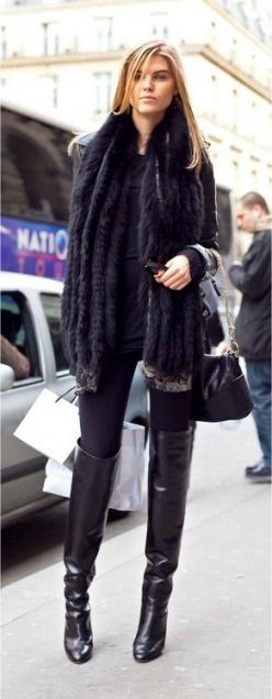 LOL ~ OK, so it's not a dress, but it sure is black and sexy: Knee High, Fall Style, Fashion Style, Maryna Linchuk, Street Style, Knee Boots, Winter Outfit, Fall Winter