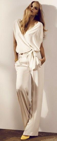 Love this outfit. With sleeves and covered neck/chest it'd be perfect! :-): Classy Outfit, Womens Fashion, White Jumpsuit, Fashion Style, Yellow Shoes, Pantsuit