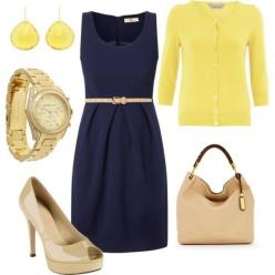 pintrest+stitch+fix | Patchwork of Books: In which I've gone and joined Stitch Fix: Yellow Navy, Navy Outfit, Color Combos, Dream Closet, Navy Yellow, Yellow Cardigan, Navy Dress, Work Outfits, Navy Blue