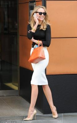 Retail therapy: Kimberley Garner is seen shopping in Harrods and round London's Knightsbridge: Black Top, White Pencil Skirt Outfit, Interviewoutfit Workoutfit, Street Style, Pencil Skirts, Work Outfit, Workoutfit Bfcloset