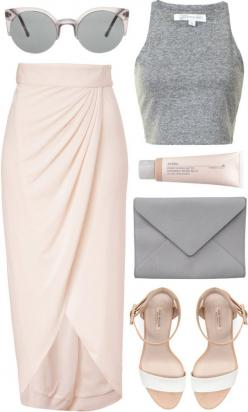 skirt + basic tank + ankle strap heels.: Summer Fashion, Summer Outfit, Outfit Idea, Spring Summer, Croptop, Spring Outfit, Crop Top