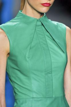 Structured Fashion - line, angle & fold - green leather dress; close up fashion detail // Reem Acra: Fashion Details, Shirt Collar Detail, Details Fashion, Green Leather Dress, 2013 Details, Leather Dresses, Beautiful Details