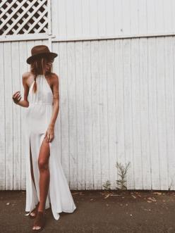 summer slits + leopard shoes: Summer Dresses, Coachella Fashion, Bohemian Perfection, Dress Hats, Outfit Inspiration, Street Style, White Maxi Dresses, White Hats, Boho Fashion