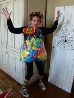 Super Cute Jelly Bean Costume! THIS WOULD BE PERFECT FOR MY COSTUME NEXT YEAR FOR.WORK!: Jelly Belly Costume, Homemade Halloween Costume, Jelly Bean Halloween Costume, Bag Of Jellybeans Costume, Jellybean Costume, Jelly Bean Costume, Halloween Costumes Fo