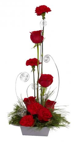 This holiday arrangement has added style with  Silver OASIS Aluminum Wire.: Valentines Floral Arrangements, Christmas Flower Arrangements, Valentines Flowers, Valentine Flower Arrangements, Christmas Flowers Arrangements, Valentines Flower Arrangements, V