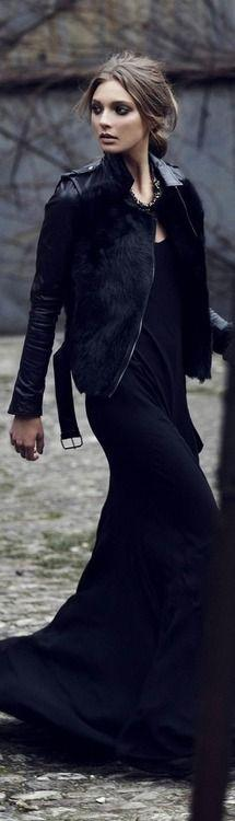 this jacket is to DIE for! coming soon!...Follow us for arrival updates.....: All Black, Black Leather, Black Maxi, Leather Jackets, Black Dress