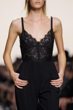 Underwear as outerwear - I love black lace: Lace Jumpsuit, Lace Tops, Elie Saab, Fashion Style, All Black, Fashion Week, Black Lace Top, Black Laces