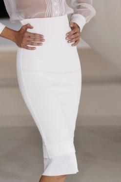 want a skirt just like this!: White Pencil Skirts, All White, Beautiful Pencil, Sheer Blouse, Sheer Top, Dress, Outfit, White Skirts