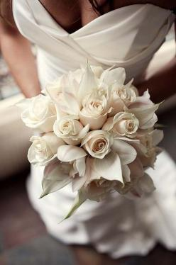 We like the idea of white flower bouquets for the bridesmaids. Creamy roses with #callas and #orchids for brides #bouquet: Wedding Idea, White Wedding, White Rose, Wedding Dress