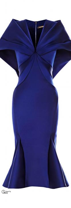 Zac Posen 2014.   Classic, a work of art.  Now if I only had the figure and diamond jewelry to go with it!  And, it's one of my favorite colors!: Cape Dress, Beautiful Blue, Amazing Blue, Royal Blue Work Dress