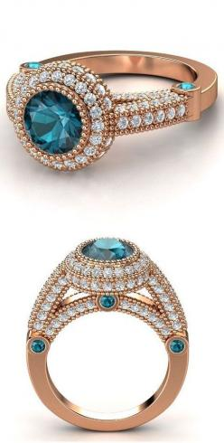 14K Rose Gold Blue Topaz & Diamond Ring <3