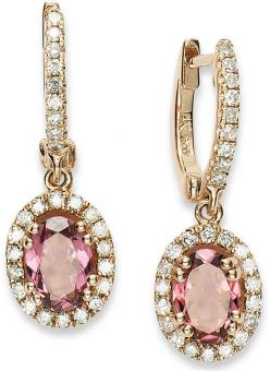 14k Rose Gold #Earrings, Pink Tourmaline (1-3/8 ct. t.w.) and Diamond (3/8 ct. t.w.) #Earrings