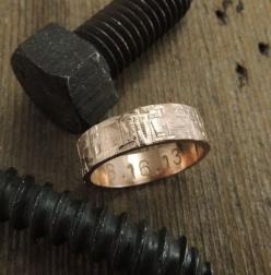 6mm 14k Rose Gold Mens Wedding Band, Rugged Textured, Gold Mens Wedding Ring, Eco Friendly, Sustainable, Handmade Wedding Ring