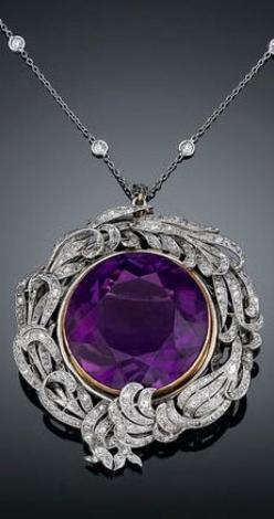 A rare 39.29-carat Siberian amethyst takes center stage in this Belle �poque pendant brooch
