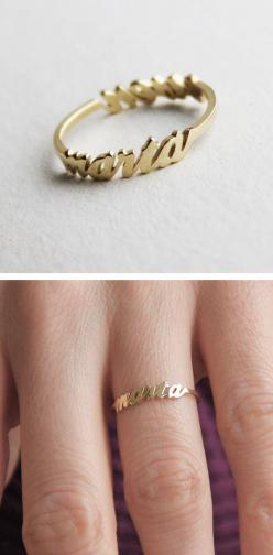 A ring you can customize with two names is a perfect gift for a mother, sister or best friend.: Gifts For Friend, Perfect Gift, Name Ring, Sister Ring, Customized Ring, Gold Mothers Ring