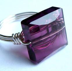Amethyst Swarovski Crystal Wire Wrapped in Sterling Silver Ring