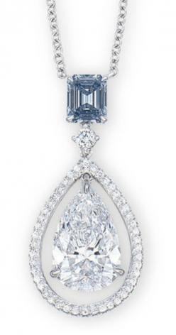 BLUE DIAMOND WEIGHING 0.56 CARAT SUSPENDING A PEAR-SHAPED DIAMOND WEIGHING 3.06 CARATS, WITHIN A BRILLIANT-CUT DIAMOND FRAME, SPACED BY A BRILLIANT-CUT DIAMOND, JOINED TO A COLLET-SET BRILLIANT-CUT DIAMOND FINE NECKCHAIN.