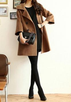 Camel Pea Coat - Features Hidden Pockets Coat: Outfits With Peacoats, Chanel Outfit, Camel Peacoat Outfit, Winter Coats Peacoats, Camel Winter Coats, Camel Coat, Black Pea Coat Outfit, Classy Winter Outfit, Classy Black Outfit