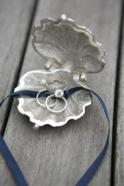 clam ring holder for a beach wedding. BHLDN. Photography by samanthamelanson.com