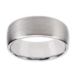Comfort Fit Wedding Band Ring for Him, in 18kt Brushed White Gold