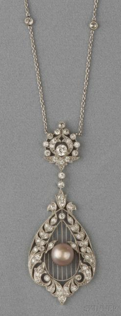 Edwardian Platinum, Natural Pearl, and Diamond Pendant, the pearl measuring approx. 7.50 mm, on knife-edge bars, the frame set with old single and old European-cut diamonds, lg. 2 1/2, suspended from trace-link chain with bezel-set old mine-cut diamonds,