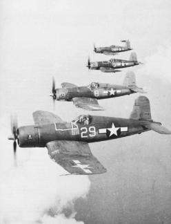 F4U Corsairs Flying in Formation. Birdcage