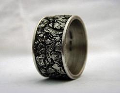 Gents wedding band. Sterling silver, oxidized.  12mm wide, size 9.5  Alternative jewelry.