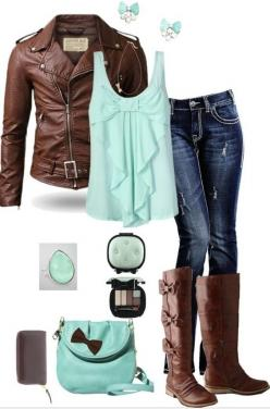 I like the mint green and brown together; ;not necessarily this outfit, but the colors