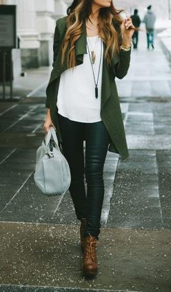 Is that a jacket or a cardigan? Either way, I love the shape.: Casual Outfit, Street Style, Fall Outfit, Leather Pants, Fall Winter, Winter Fall