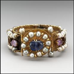 Jeweled Bracelet (one of pair); Gold, silver, pearls, amethyst, sapphire, glass, quartz. Byzantine, probably made in Constantinople, 6th-7th century