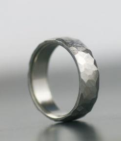 men's wedding band - 950 palladium, 14K white gold, platinum, or palladium sterling silver unique hand faceted band band for him or her
