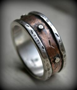 mens rustic wedding ring, rustic fine silver and copper ring with silver rivets, oxidized, handmade mens ring, industrial ring, customized: Rustic Fine, Copper Rings, Rustic Wedding Rings, Mens Rustic, Men'S Wedding Ring, Handmade Mens, Men Rings, Fin