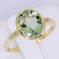 Natural 2.69ct Green Amethyst Genuine Diamond Real 18K Solid Yellow Gold Wedding Ring