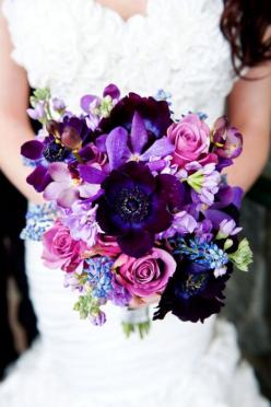 Radiant orchid, deep purples and pink bouquet. Photo Source: lisawola  #bouquet #purples #radiantorchid