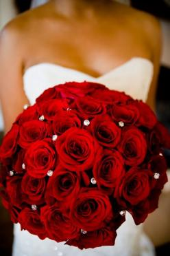 Simple yet stunning red roses bouquet. Michael and Anna Costa Photographers, Flowers by Ariel Yve Design. Click to view fabulous bridal bouquet inspiration. http://www.colincowieweddings.com/the-galleries/flowers-photos/bridal-bouquets