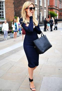 Stunner: She glammed up for the celebratory occasion in the skintight dress and heels as she arrived at the Liverpool restaurant: Street Style, Long Sleeve, The Dress, Navy Dress, Work Outfit, Black Dress