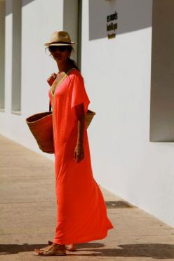 trillby, hot orange cover up, gold flip flops, shades and bag, ready for the sun: Cover Up, Maxi Dresses, Fashion, Vacation Style, Art Symphony, Beach Style, Summer Style, Maxis, Outfit