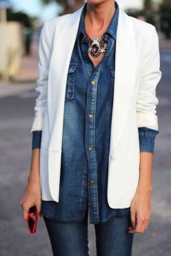 11 WAYS TO WEAR DENIM-ON-DENIM #denim Shop Shabby Shack Vintage Denim in Courtyard Antiques (formerly known as Front Porch Antiques Mall) in the Mason Antiques District.: Denim On Denim, White Blazers, Statement Necklace, Street Style, Denim White, Denim
