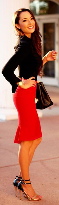 27 Very Sexy Outfits For Work ---Love pencil skirts. Not sure if I could pull it off but defiantly something interesting.: Red Pencil Skirts, Sexy Outfit, Street Style, Dress, Sexy Work Outfit, Office Wear, Work Outfits, Black Blouse, Red Skirts
