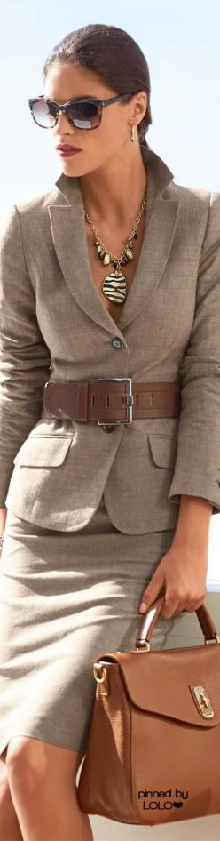 Add a cami and ready for business: Fashion Style, Business Suits For Women, Belted Suit, Madeleine Fashion, Suits Madeleine, Madeleine Clothes, Fashion Madeleine
