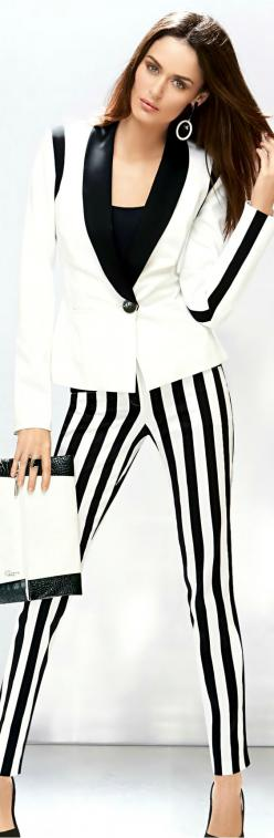 All of my pins are my taste for the most part-items that I really like and would love to wear.: Business Style, Black And White, Stripe Pants, Black White, Striped Pants, Madeleine Fashion