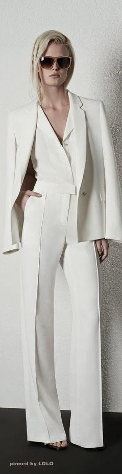 Another great style - all white outfit with the dramatic effect  of the coat over the shoulders.: All White Outfit, Sophisticated Outfit, Pantsuits, White Pantsuit, Coat
